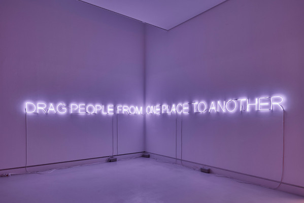 Installation view: Tim Etchells, ONE PLACE TO ANOTHER, 2019, Courtesy the Artist