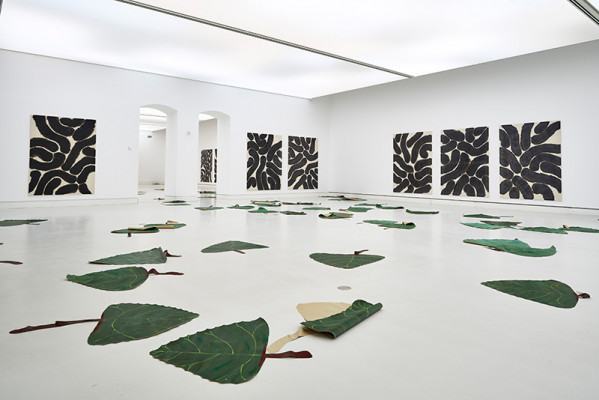 Installation view room 3: Latifa Echakhch, Populus Nigra and paintings, 2019, Courtesy of kamel mennour, kaufmann repetto, Dvir
